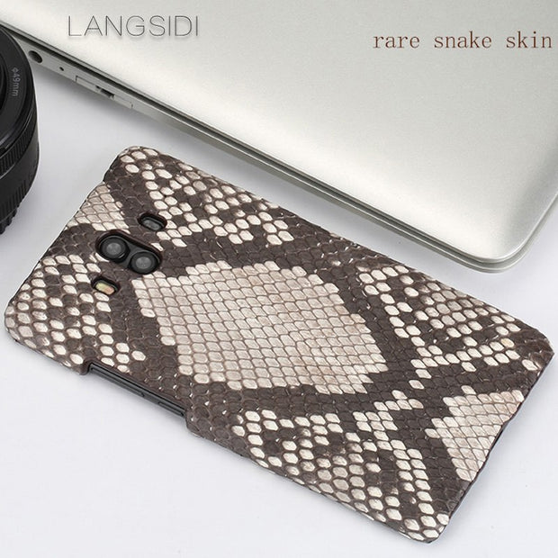 Wangcangli For Huawei Mate 7 Luxury Handmade Real Python Skin Leather Phone Case Genuine Leather Phone Case
