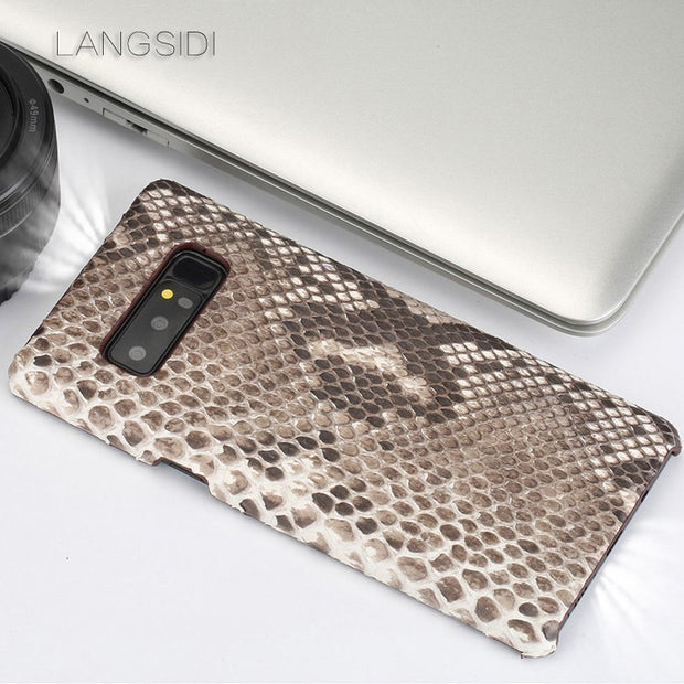 Wangcangli For Samsung Note8 Case Luxury Handmade Real Python Skin Case Cover Genuine Leather Phone Case
