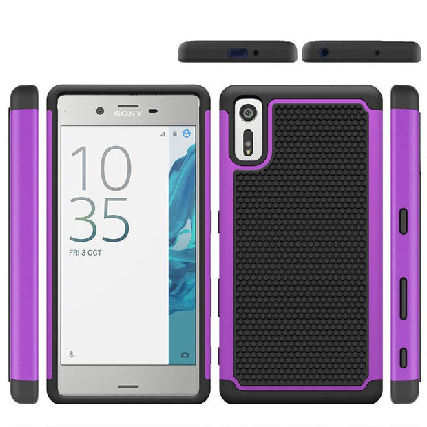 Wholesale New Football Pattern Rubber Case Hybrid Heavy Duty Rugged Combo Protective Case Cover For SONY XZ Phone Model