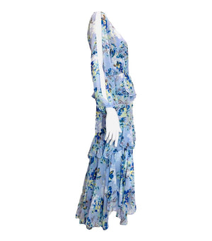Misa Maxi Floral Ruffle Dress, Size S