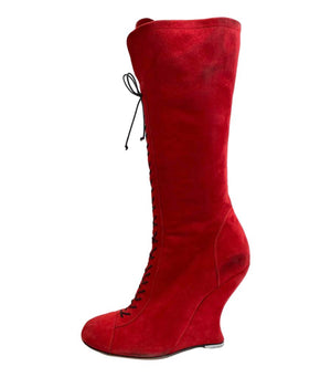 Alaia Suede Lace Up - Sculptured Wedge Heel Boots. Size 37