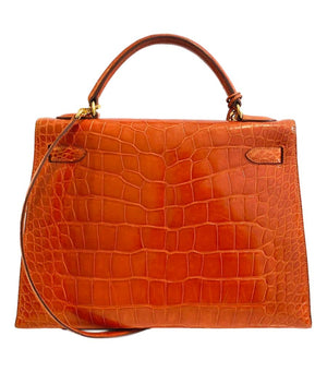 Hermes Kelly Sellier 32 Alligator Skin Bag
