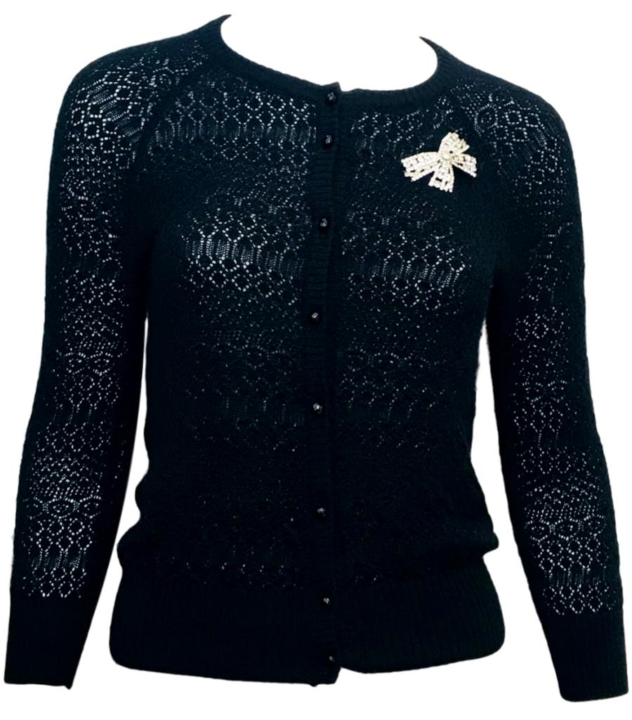 Dolce & Gabbana Knitted Cardigan with Swarovski Brooch. Size 40IT