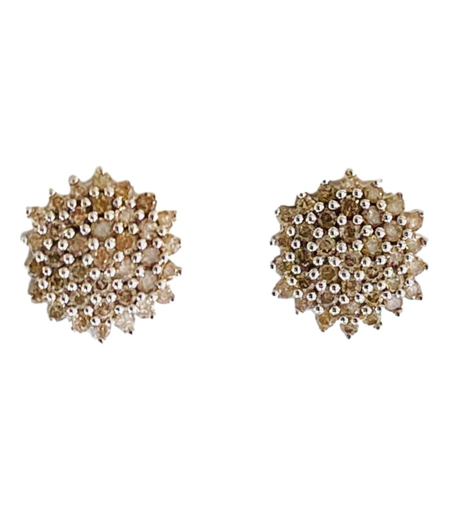 1ct Chocolate Diamond Cluster Earrings