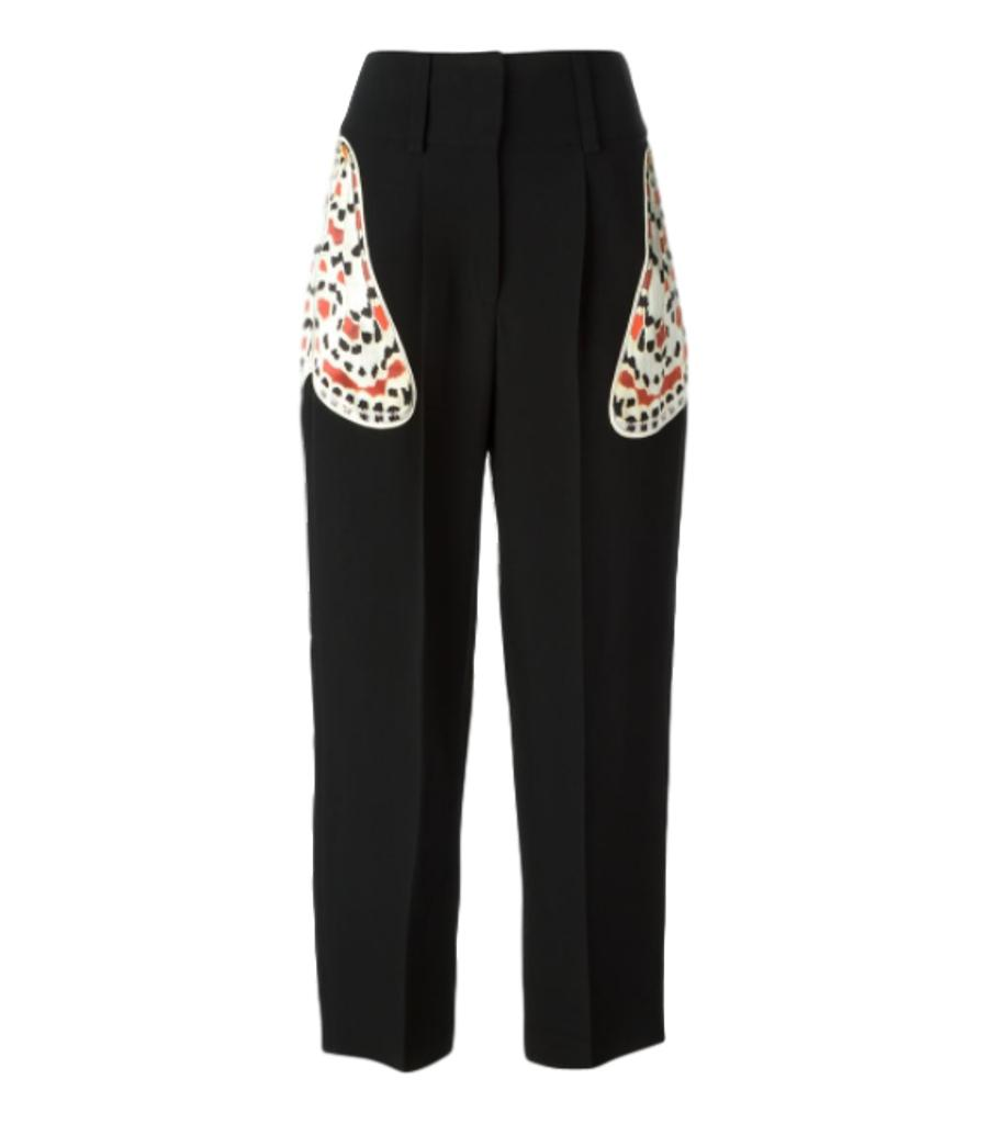 Givenchy Silk Moth Applique Trousers. Size 36FR
