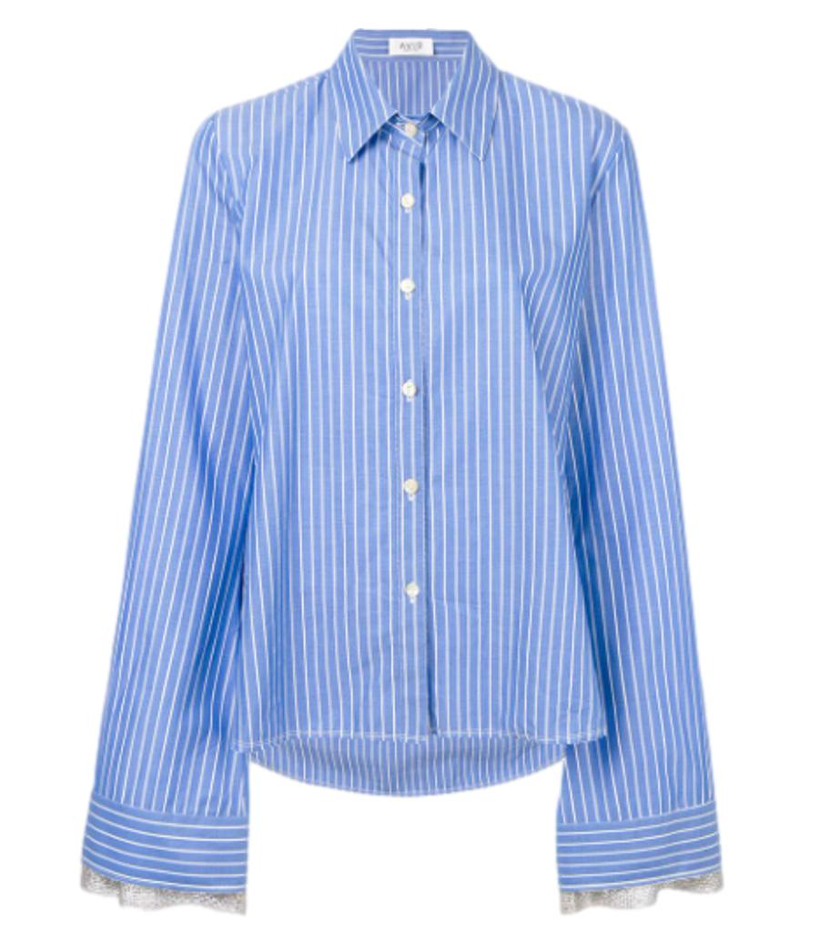 Aviu Striped Cotton & Crystal Shirt. Size 42IT