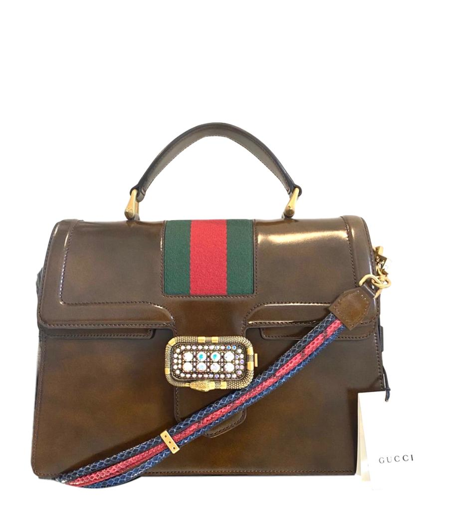 Gucci Linea Crystal Clasp Hand Bag