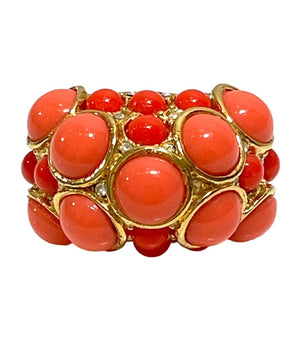 Kenneth Jay Lane 22k Gold Plated Coral/Crystal Ring