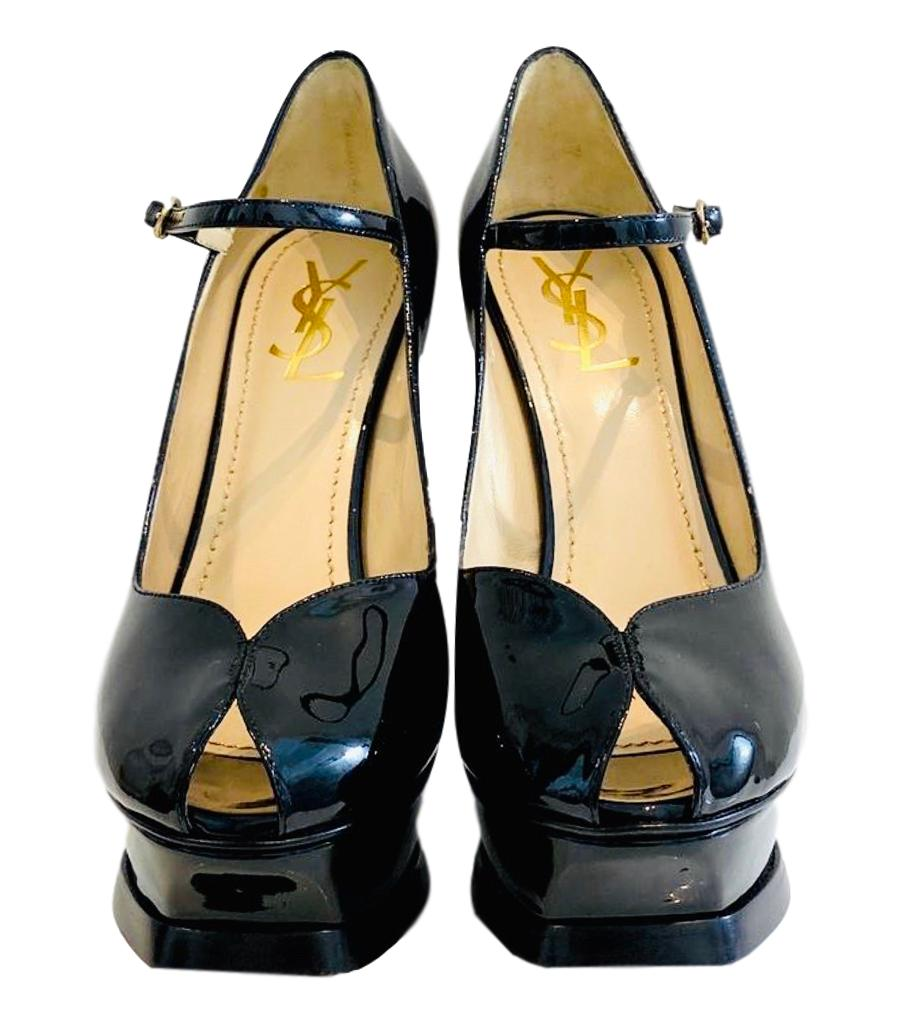 YSL Tribute Patent Leather Mary Jane Heels. Size 38