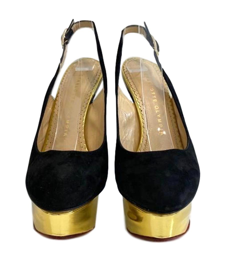 Charlotte Olympia Suede Sling Back Heels. Size 35.5