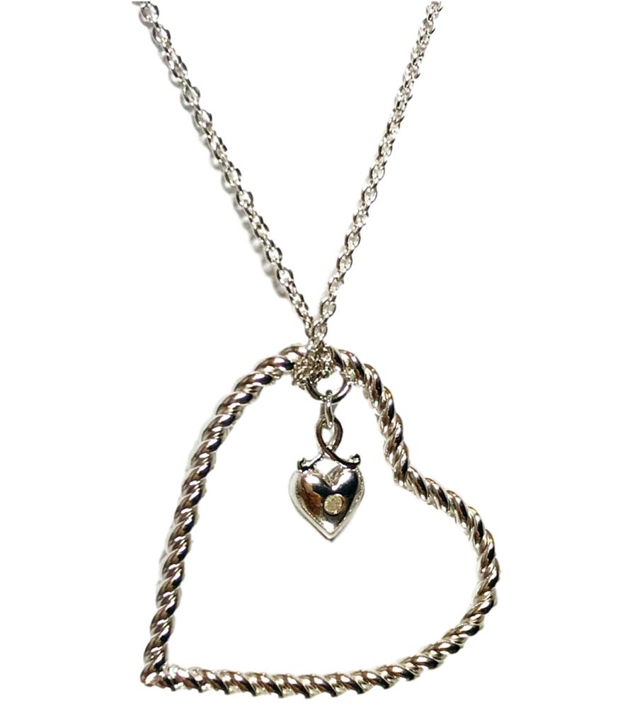 Lily & Lotty Silver & Diamond Open Heart Necklace