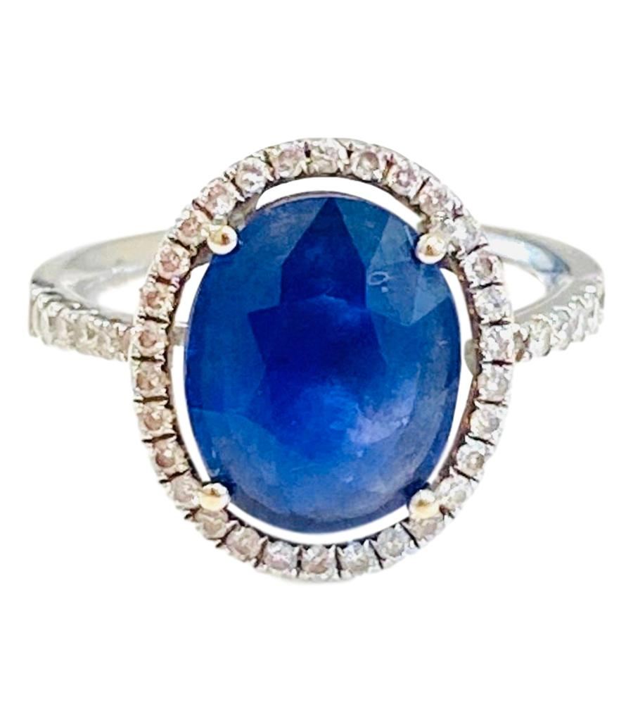 5ct Sapphire & Diamond Ring Set In 18k White Gold