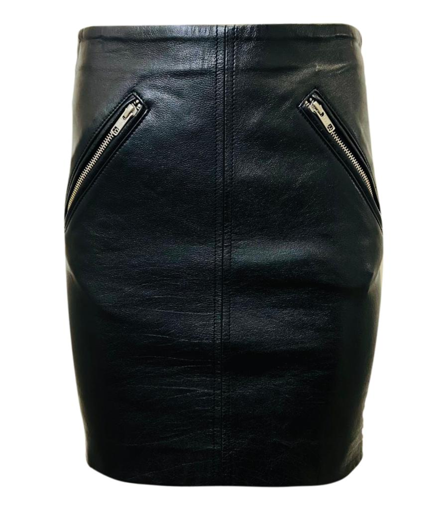 Maje Leather Mini Skirt. Size S
