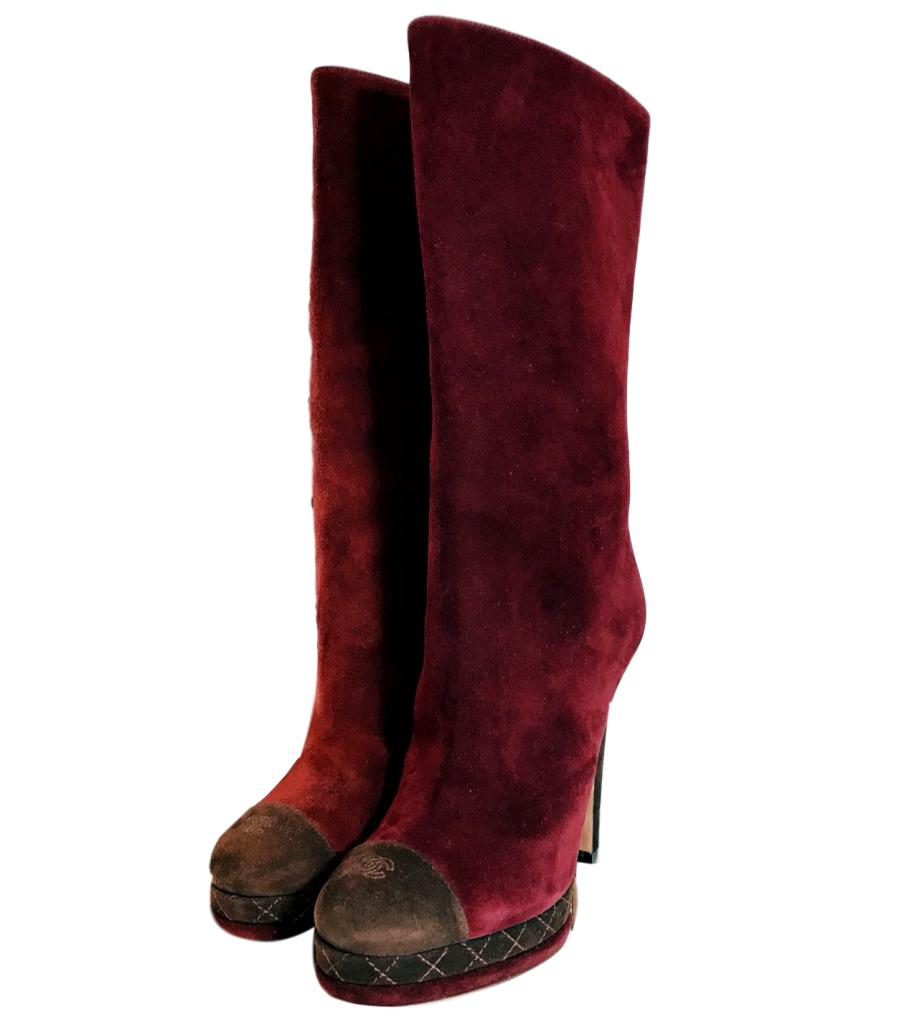 Chanel Burgundy Suede Boots. Size 37.5