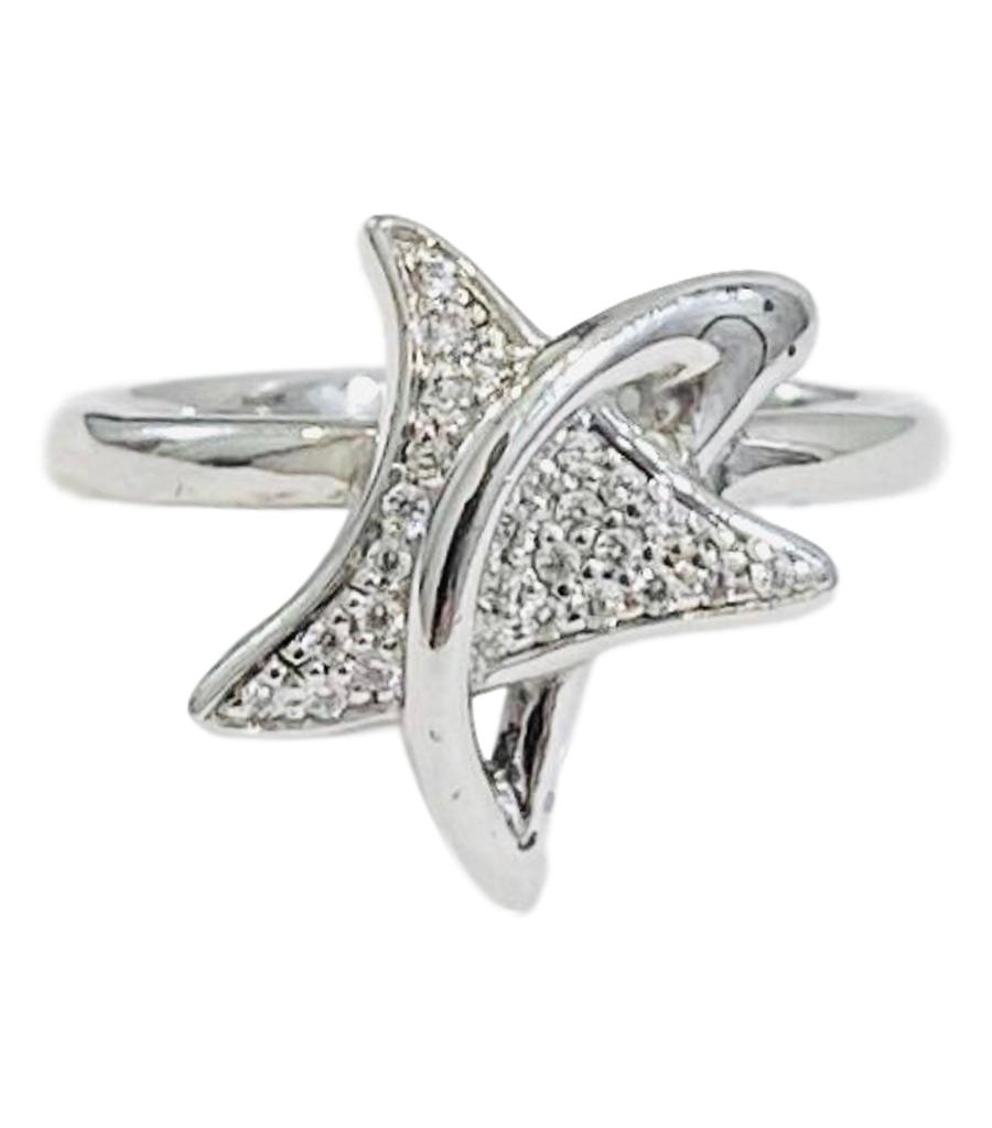 18k White Gold & Diamond Star Ring