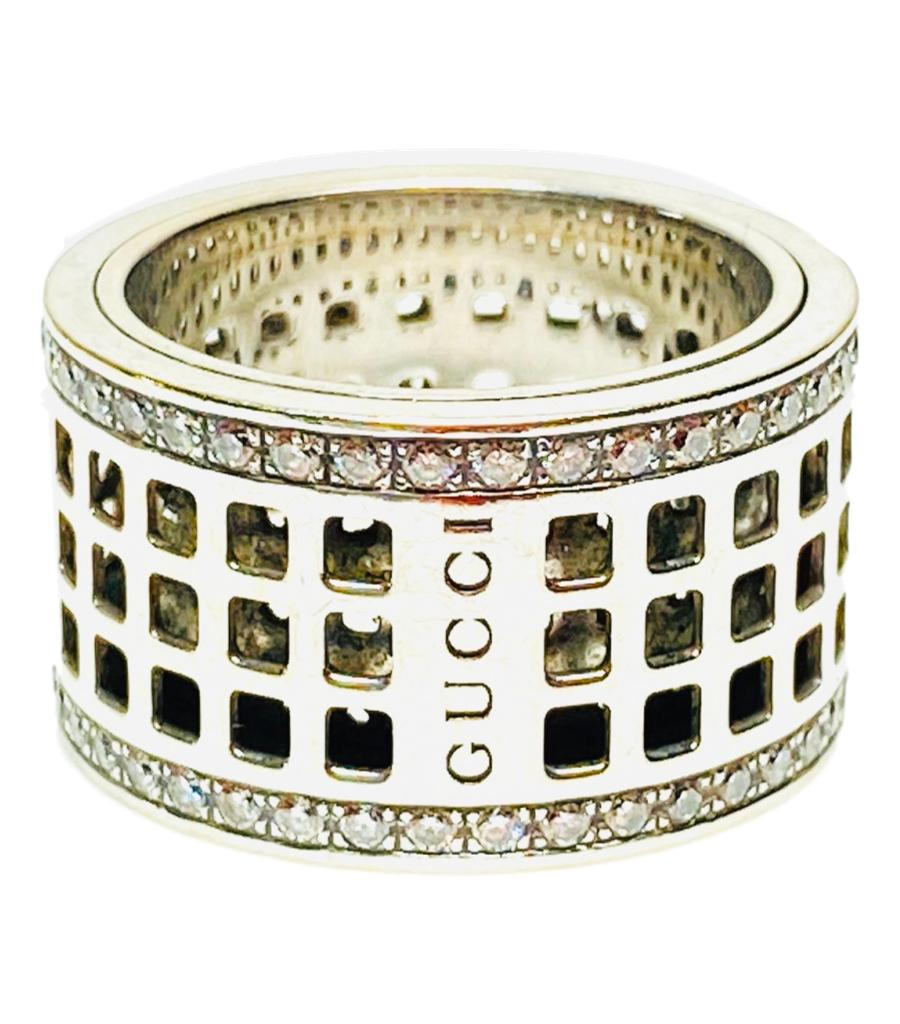 Gucci 18k White Gold & Diamond Spinning Ring