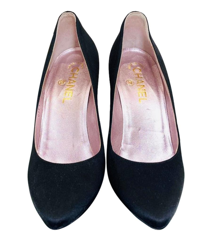 Chanel Satin Shoes With Lucite Heel. Size 38.5
