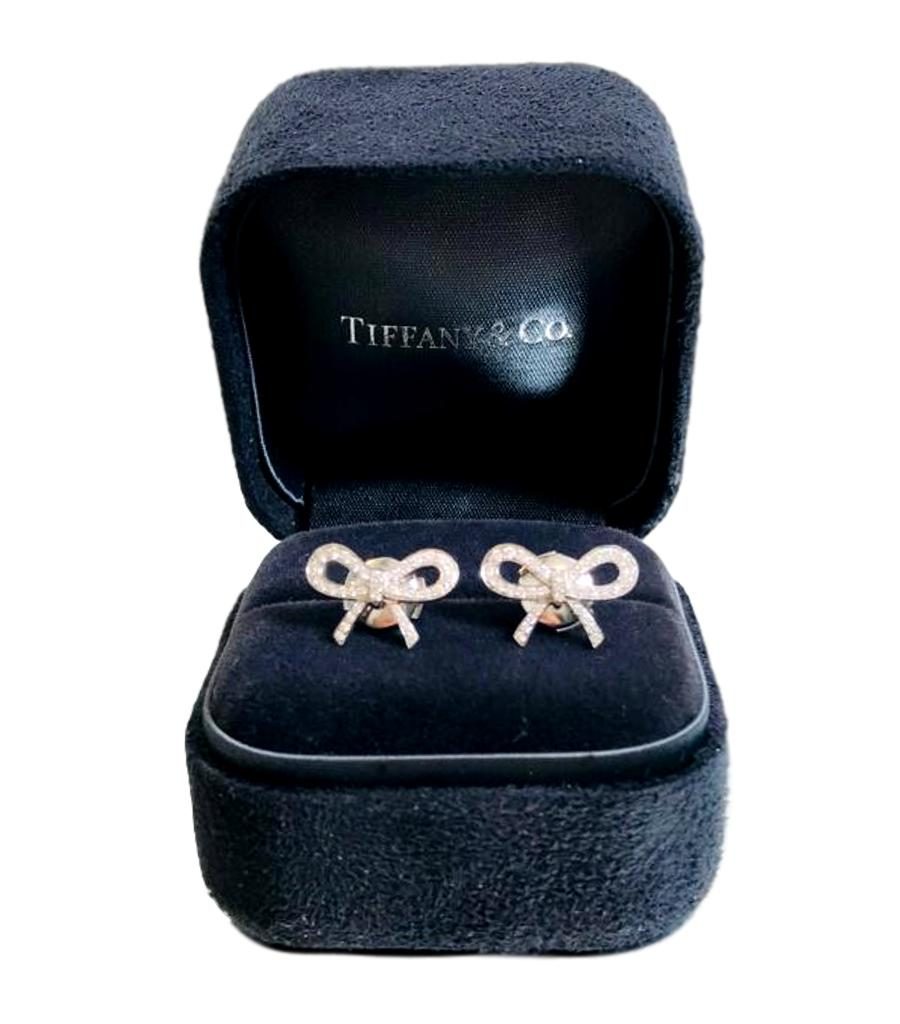 Tiffany & Co Platinum, Diamond Bow Earrings
