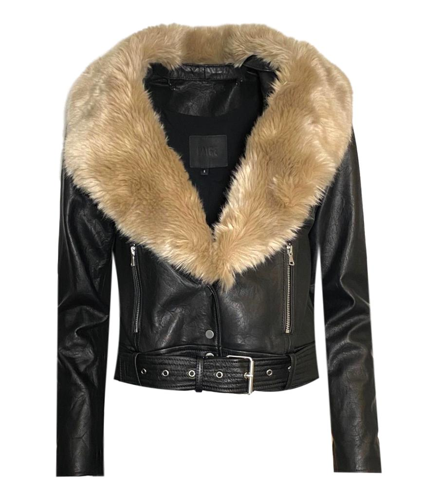 Paige Leather Biker Jacket With Removable Faux Fur Collar