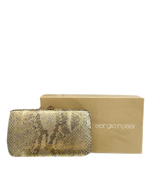 Sergio Rossi Metallic Python Skin Clutch Bag