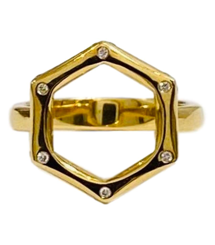 18k Gold & Diamond Hexagon Ring