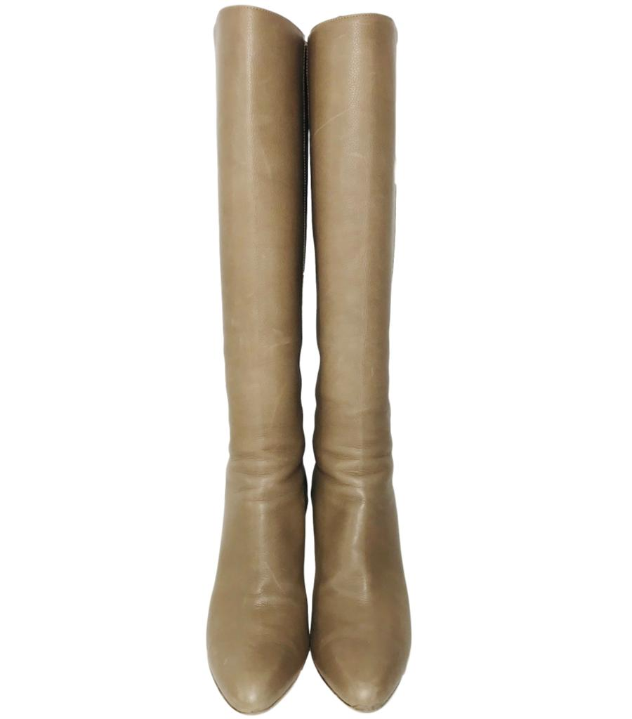 Jimmy Choo Glory Grainy Calf Leather Boots. Size 37