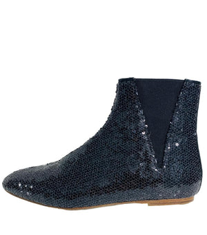 Loewe Black Sequin Flat Boots. Size 39