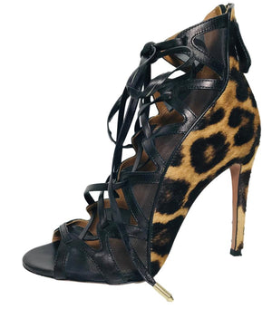 Aquazurra Pony Hair And Leopard Print Heels. Size 36