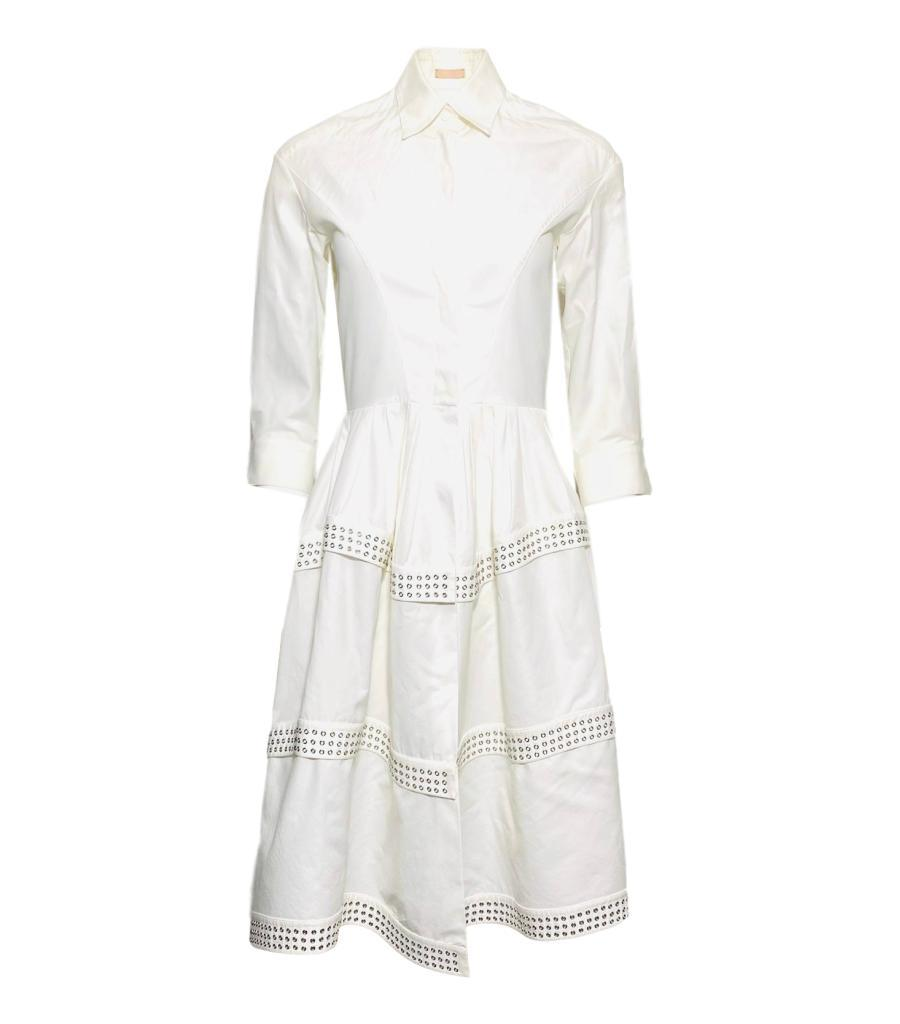 Alaia Cotton Eyelet Shirt Dress. Size 36FR
