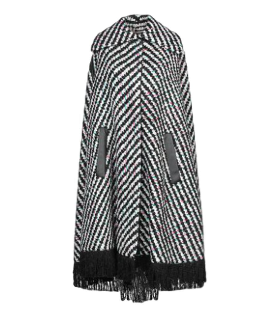 Emilio Pucci Fringe Trim Virgin Wool Cape Coat. Size 40IT