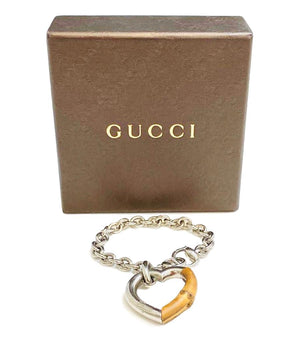 Gucci Silver & Bamboo Heart Bracelet
