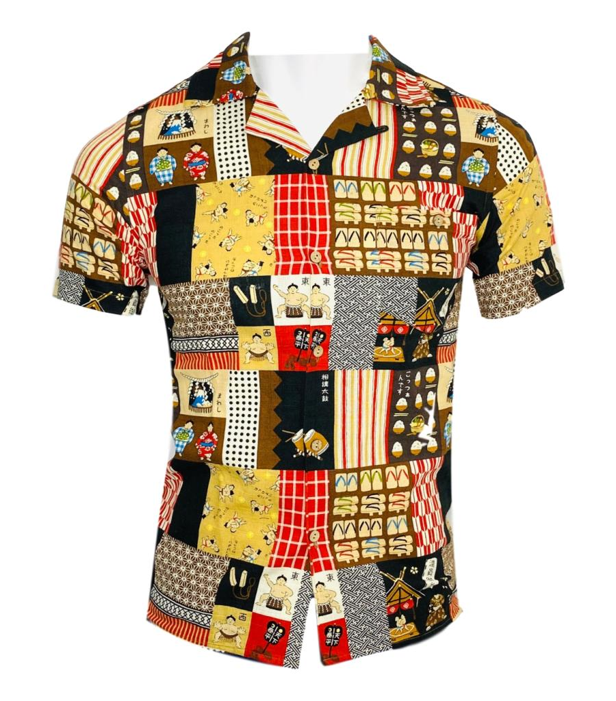 Percival Sumo Wrestlers Print  Shirt. Size 01