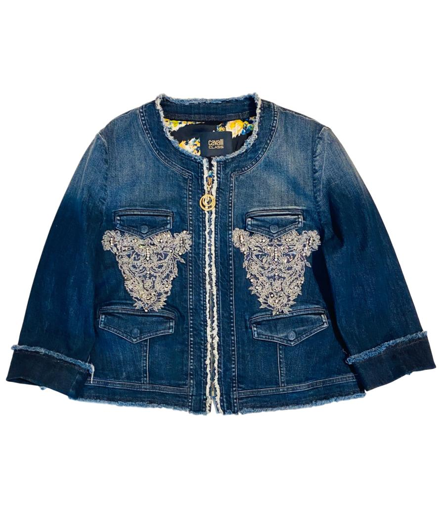Roberto Cavalli Beaded Denim Jacket. Size 50IT