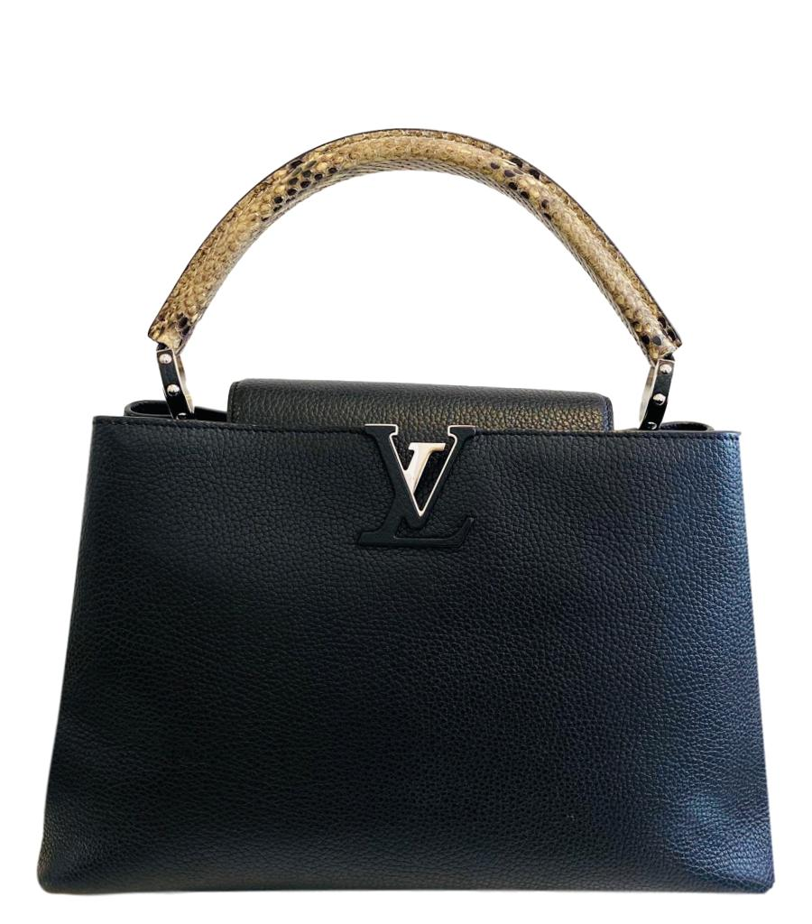 Louis Vuitton Leather & Python Capucines MM Bag
