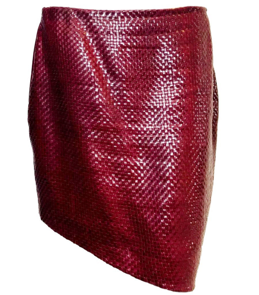 Magda Butrym Red 'Santa Maria' Woven Leather Mini Skirt. Size 12 UK