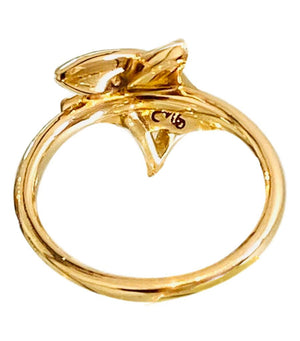 18k Yellow Gold & Diamond Star Ring