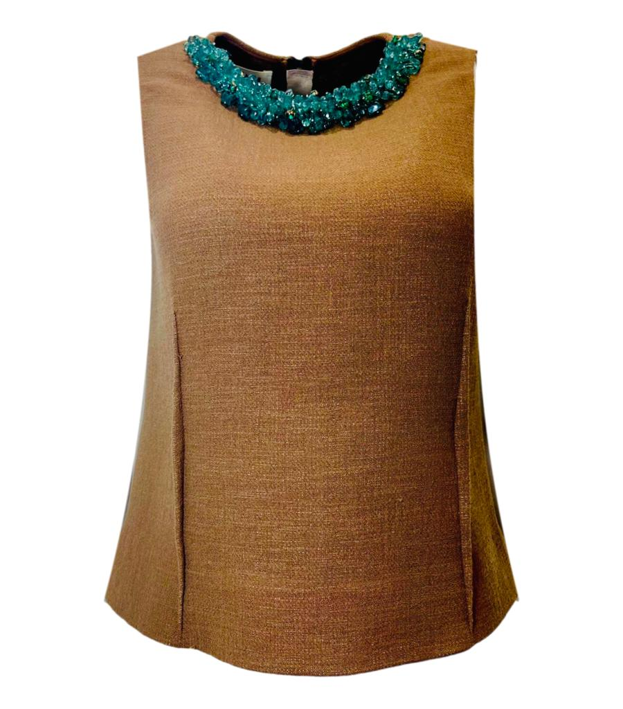 Marni Virgin Wool Jewelled Neck Top. Size 40IT
