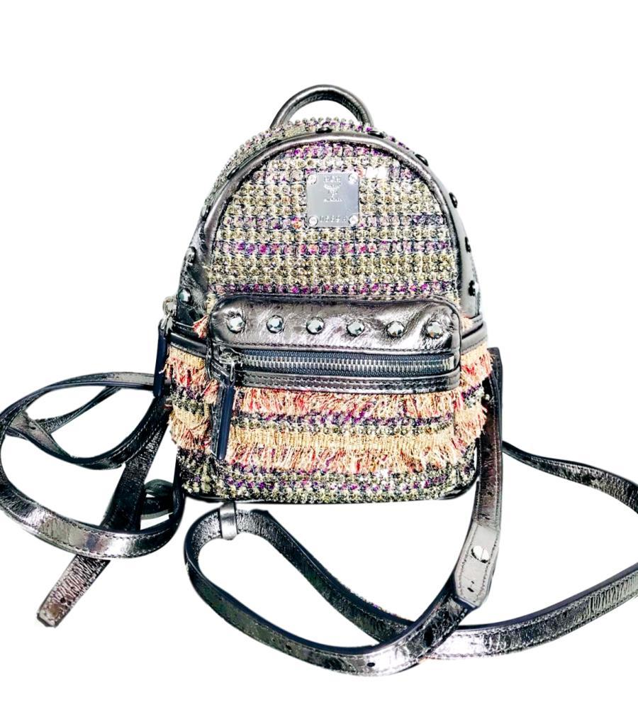 MCM Tweed & Crystal Backpack