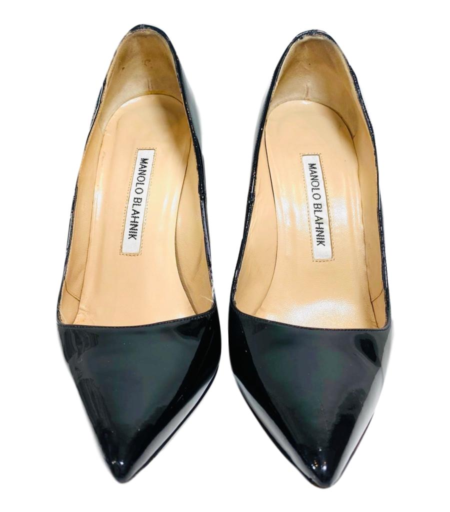 Manolo Blahnik Patent Leather Heels. Size 35.5