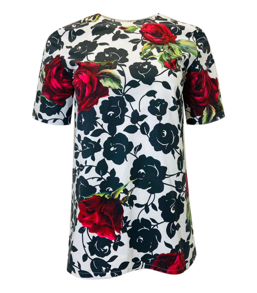 Dolce & Gabbana Cotton Rose Top. Size 40IT