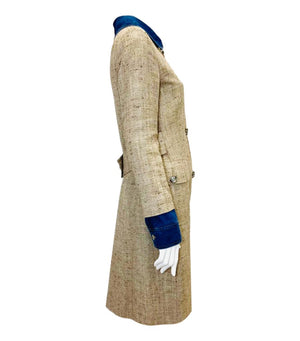 Dolce & Gabbana Silk, Linen, Cotton Tweed Coat. Size 42IT