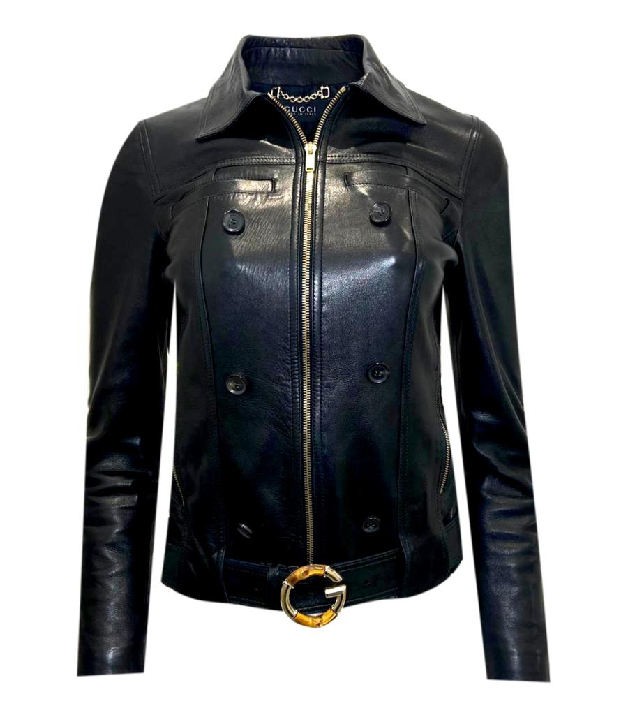 Gucci Leather Jacket With Bamboo Buckle Belt. Size S