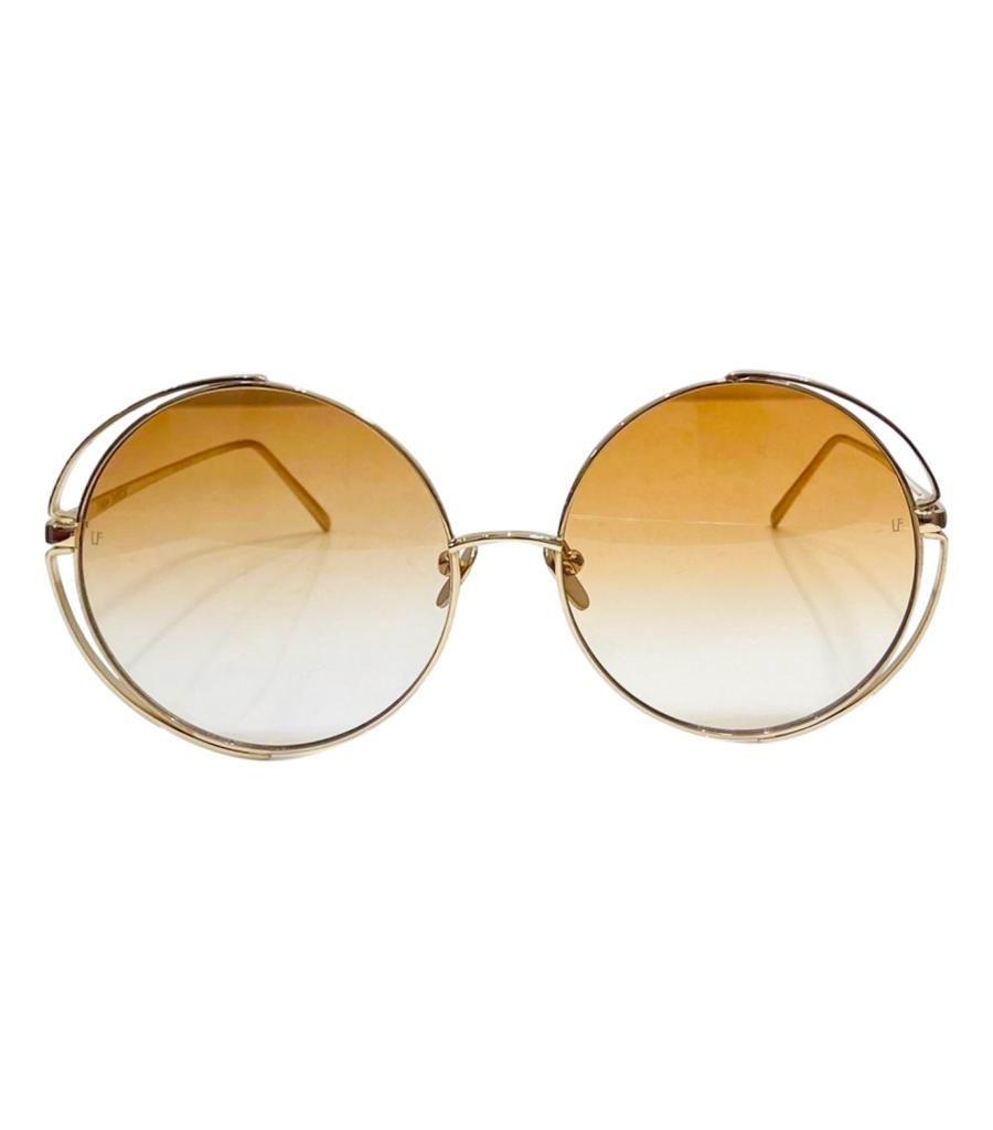 Linda Farrow 22k Gold Plated Round Sunglasses