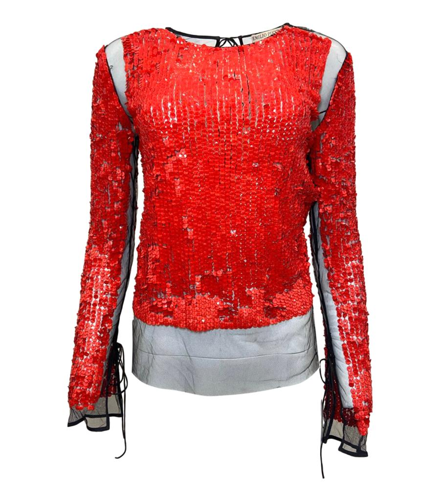 Emilio Pucci Sequin & Mesh Top. Size 42IT