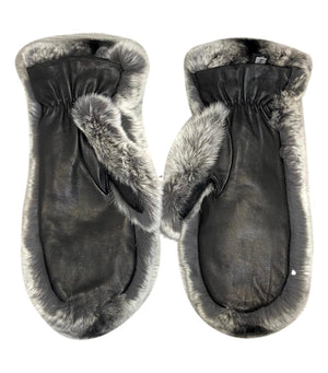 Joseph Rex Rabbit & Leather Mittens