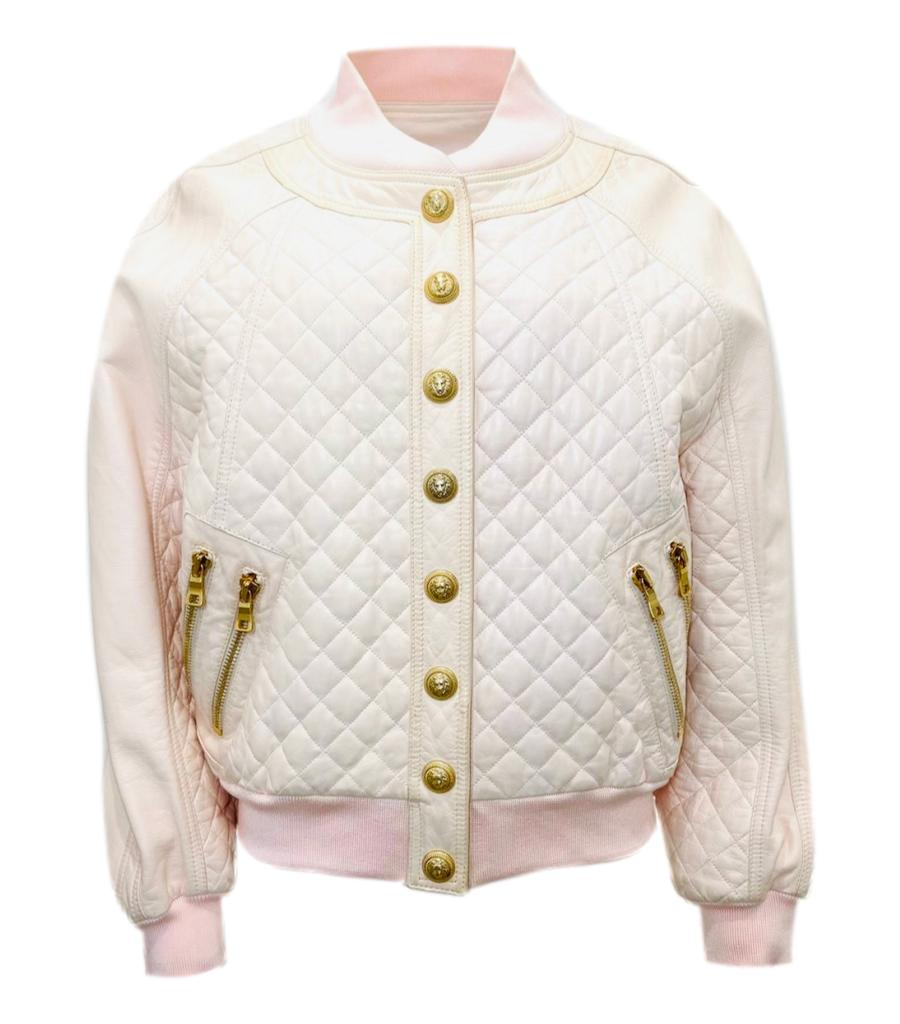 Balmain Quilted Leather Bomber Jacket. Size 40FR