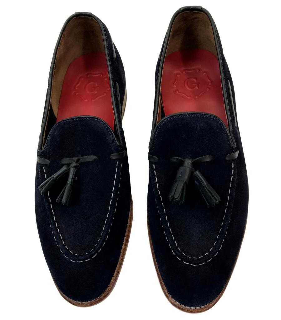 Grenson Navy Suede Loafers. Size 7