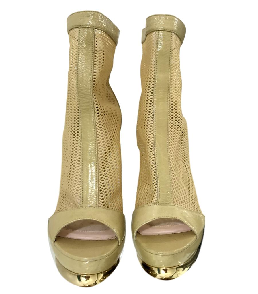 Emilio Pucci Mesh Peep-Toe Ankle Boots. Size 37