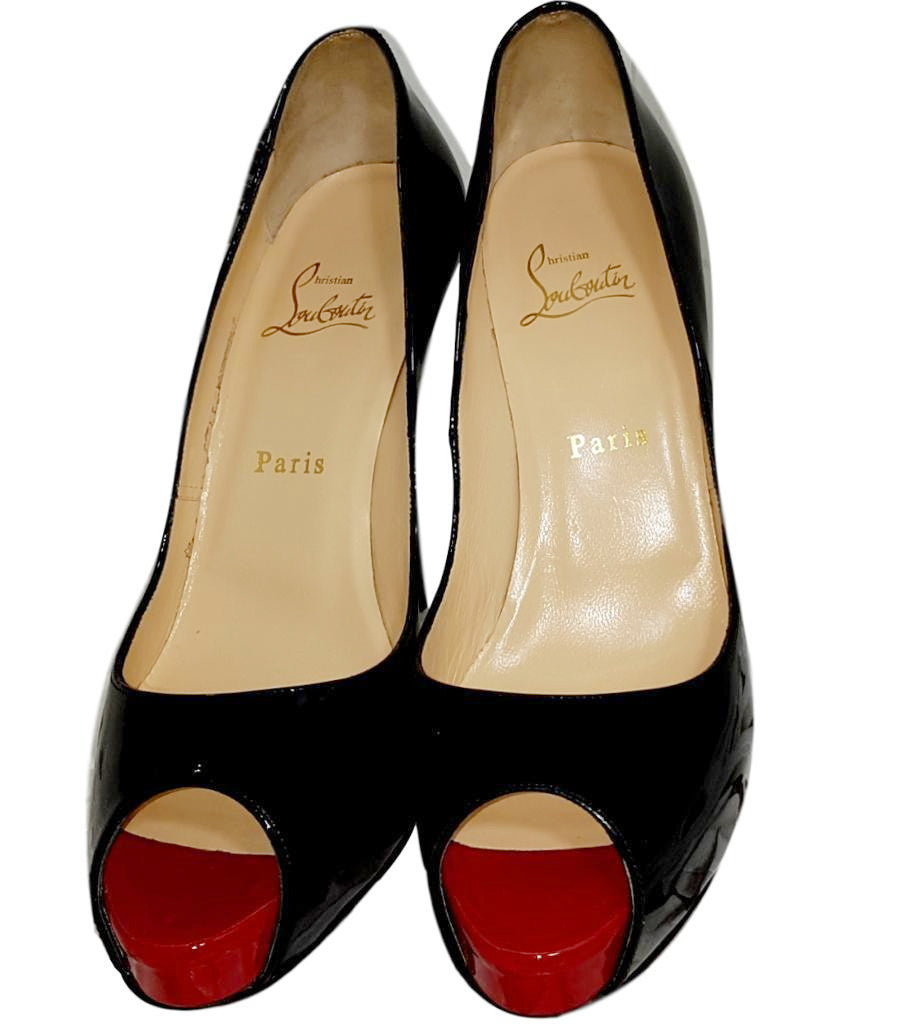 Christian Louboutin Patent Leather Peep Toe Pumps. Size 39