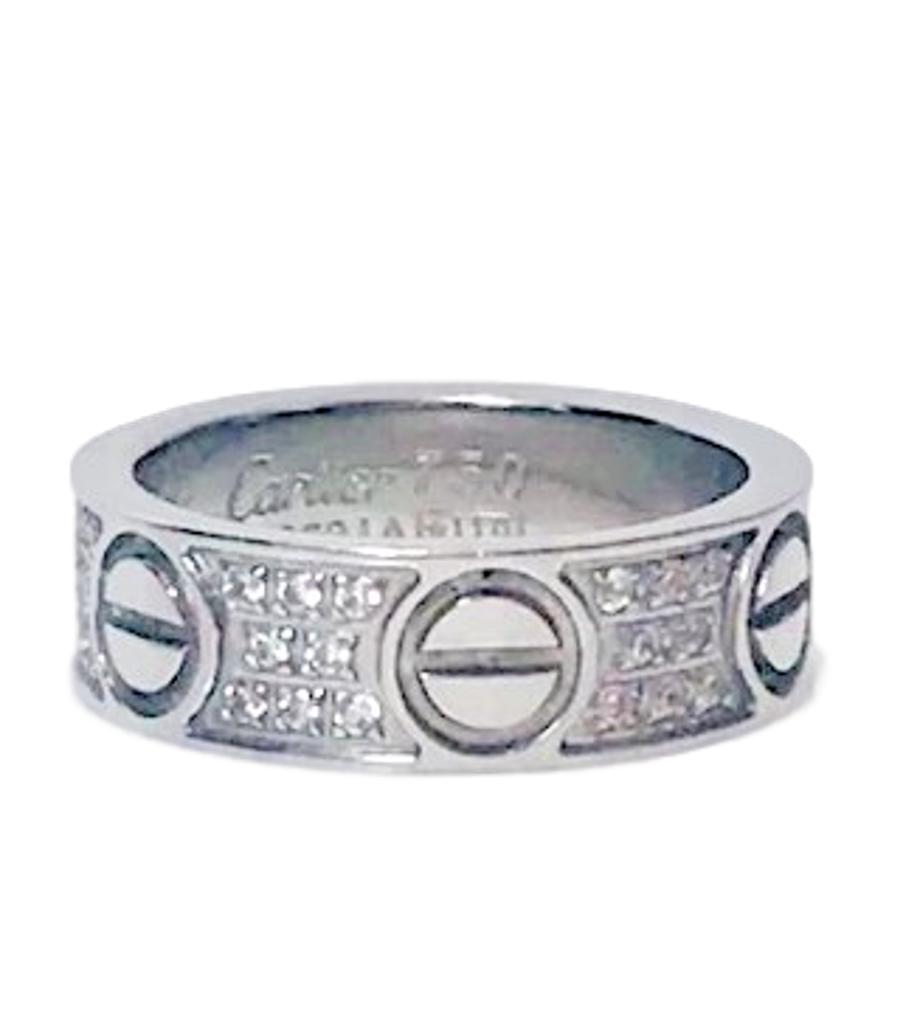 "Cartier 18k White Gold Diamond ""Love"" Ring"